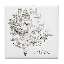 Maine Nubble Lighthouse Tile Coaster