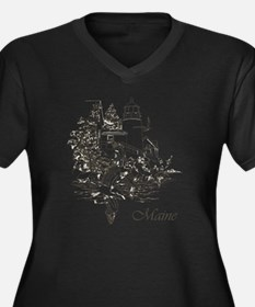 Maine Nubble Women's Plus Size Dark V-Neck T-Shirt