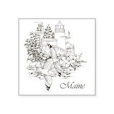 "Maine Nubble Lighthouse Square Sticker 3"" x 3"""