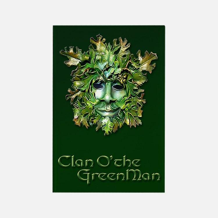 Clan O the Greenman w/ Celtic Bor Rectangle Magnet