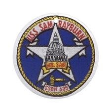 uss sam rayburn patch transparent Round Ornament