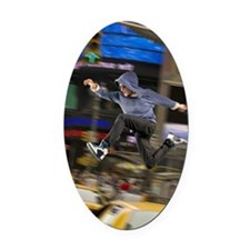 Man jumping over traffic Oval Car Magnet