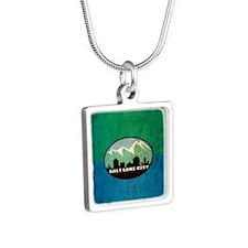 Vintage Salt Lake City Fla Silver Square Necklace