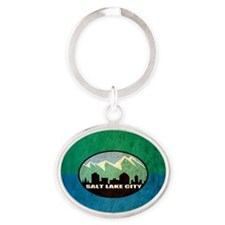 Vintage Salt Lake City Flag Oval Keychain