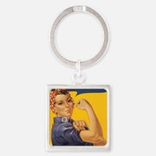 We Can Do It Square Keychain