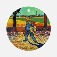Van Gogh Painter On The Road Round Ornament