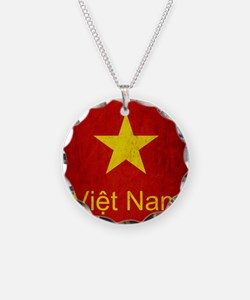 Grunge Vietnam Flag Necklace