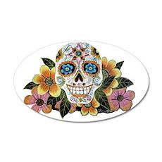 Flower Skull II 35x21 Oval Wall Decal