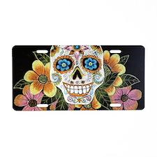 Flower Skull Aluminum License Plate