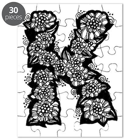 Flower Monogram K Puzzle