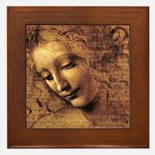 Leonardo Da Vinci La Scapigliata Framed Tile
