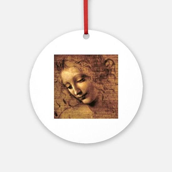 Leonardo Da Vinci La Scapigliata Round Ornament