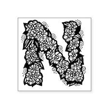 "Flower Monogram N Square Sticker 3"" x 3"""
