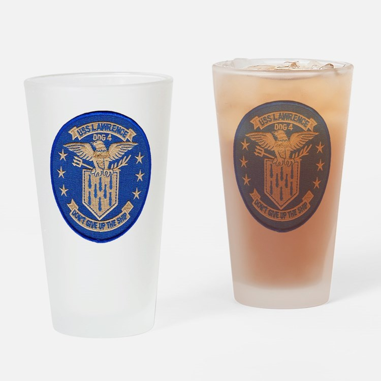 uss lawrence patch transparent Drinking Glass
