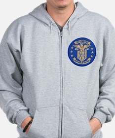 uss lawrence patch transparent Zip Hoodie