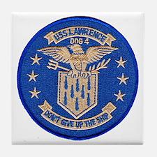 uss lawrence patch transparent Tile Coaster