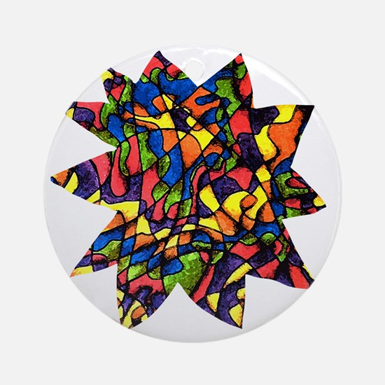 Rainbow Maze Round Ornament