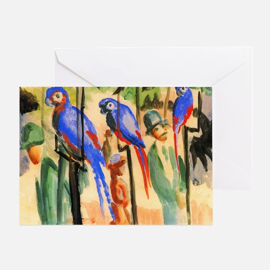 Marc Franz With The Parrots Greeting Card