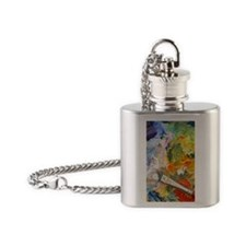 Artists oil painting palette Flask Necklace