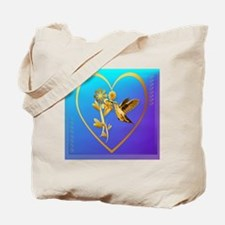 Gold Hummingbird Jewel Heart Tote Bag