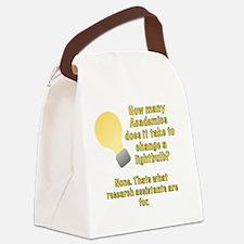 Academics lightbulb joke Canvas Lunch Bag