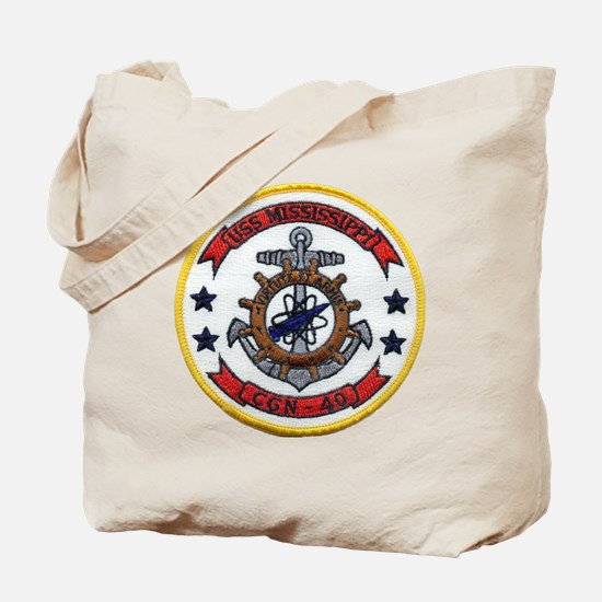 uss mississippi patch transparent Tote Bag