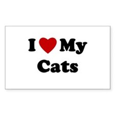 I Love My Cats Rectangle Bumper Stickers