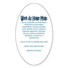 Work At Home Mom (JD) Oval Decal