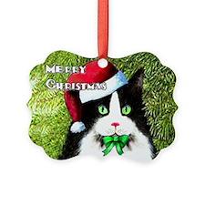 Tuxedo Merry Christmas Cat Ornament