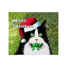 Tuxedo Merry Christmas Cat Throw Blanket