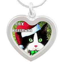 Tuxedo Merry Christmas Cat Silver Heart Necklace
