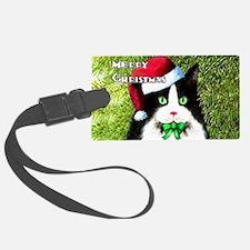 Tuxedo Merry Christmas Cat Luggage Tag