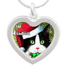Bah Humbug Tuxedo Cat Silver Heart Necklace