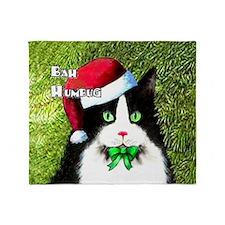 Bah Humbug Tuxedo Cat Throw Blanket