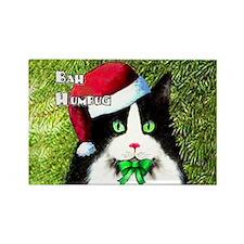 Bah Humbug Tuxedo Cat Rectangle Magnet