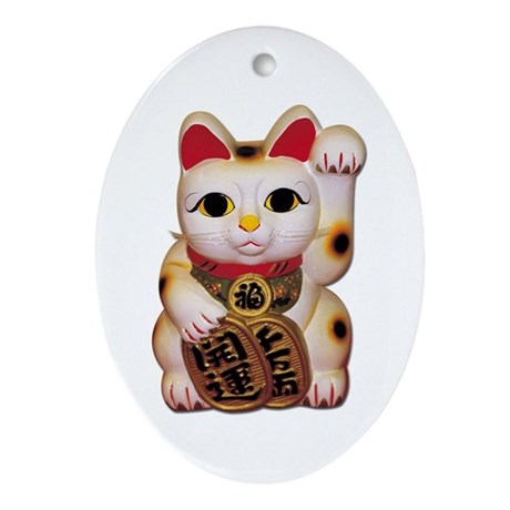 Lucky Cat Oval Ornament