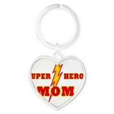Super Hero Mom Heart Keychain