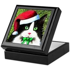 Black and White Tuxedo Cat Keepsake Box