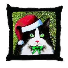 Black and White Tuxedo Cat Throw Pillow