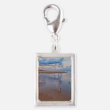 Ocean Birds at Sunrise Silver Portrait Charm
