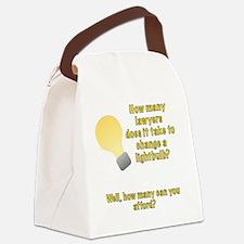 Lawyer lightbulb joke Canvas Lunch Bag