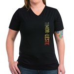Timor-Leste Women's V-Neck Dark T-Shirt