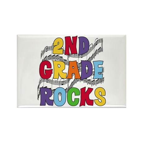 Bright Colors 2nd Grade Rectangle Magnet