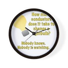 Conductor lightbulb joke Wall Clock
