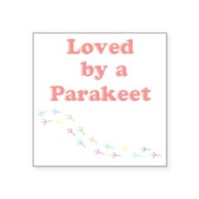 """Loved by a Parakeet Square Sticker 3"""" x 3"""""""