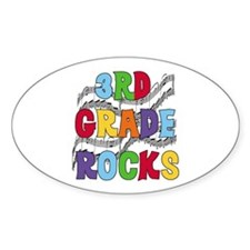Bright Colors 3rd Grade Oval Decal