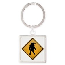Minotaur Warning Sign Square Keychain
