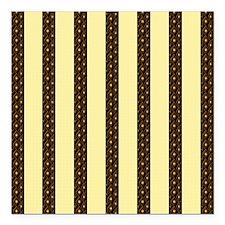 "Gold Stripes Square Car Magnet 3"" x 3"""