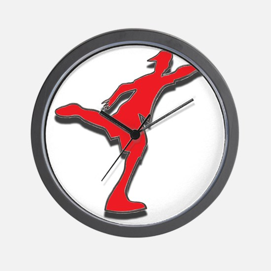 Red Discer Wall Clock