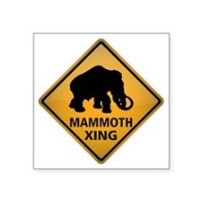 "Mammoth Crossing Sign Square Sticker 3"" x 3"""